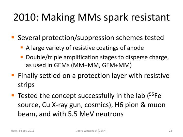 2010: Making MMs spark resistant