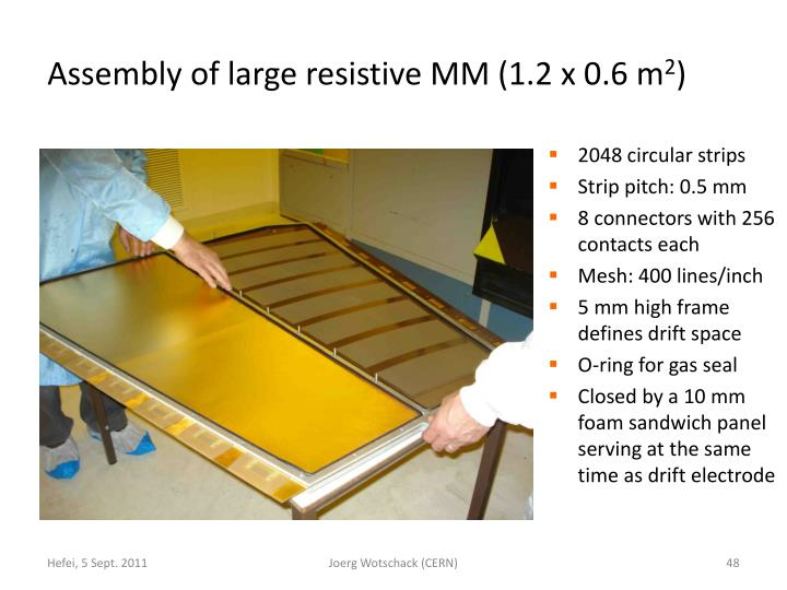 Assembly of large resistive MM (1.2 x 0.6 m