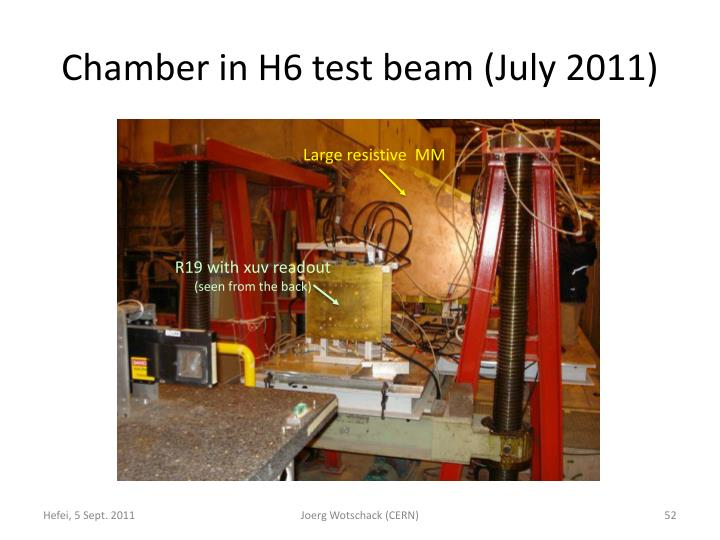 Chamber in H6 test beam (July 2011)