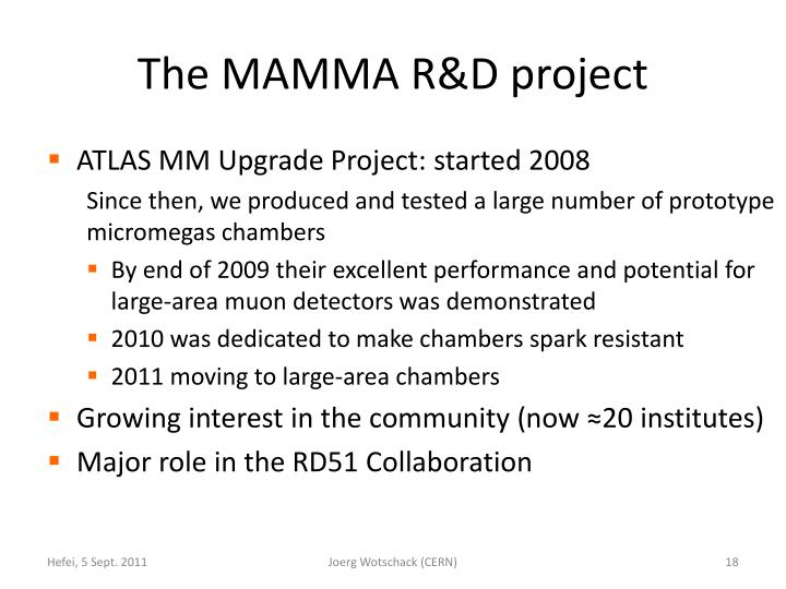 The MAMMA R&D project