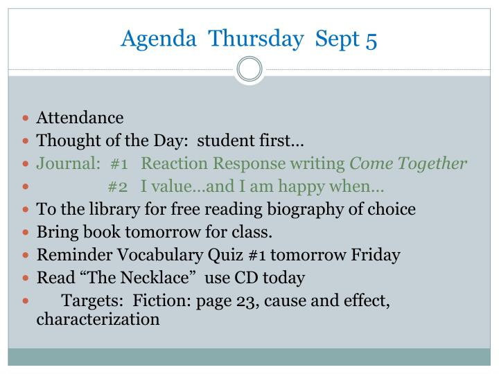 Agenda  Thursday  Sept 5