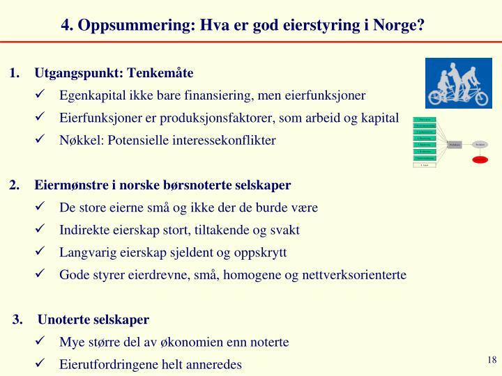 4. Oppsummering: Hva er god eierstyring i Norge?
