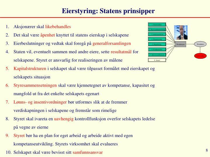 Eierstyring: Statens prinsipper
