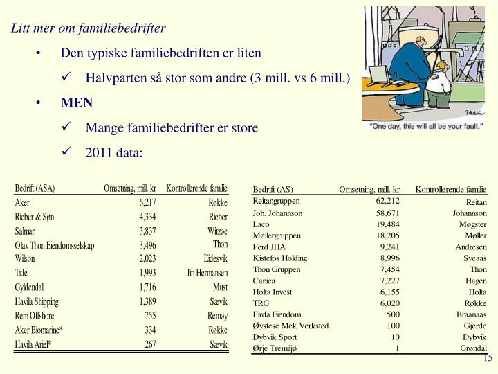 Litt mer om familiebedrifter