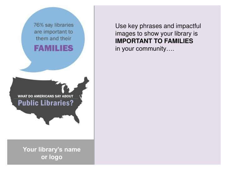 Use key phrases and impactful images to show your library is