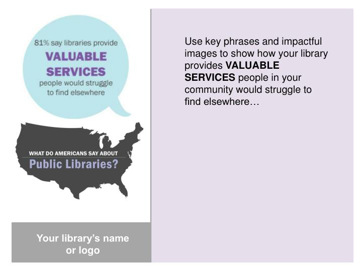 Use key phrases and impactful images to show how your library provides