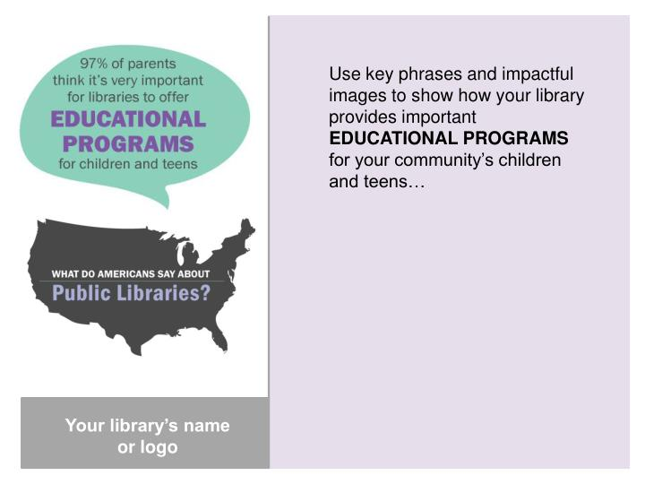 Use key phrases and impactful images to show how your library provides important