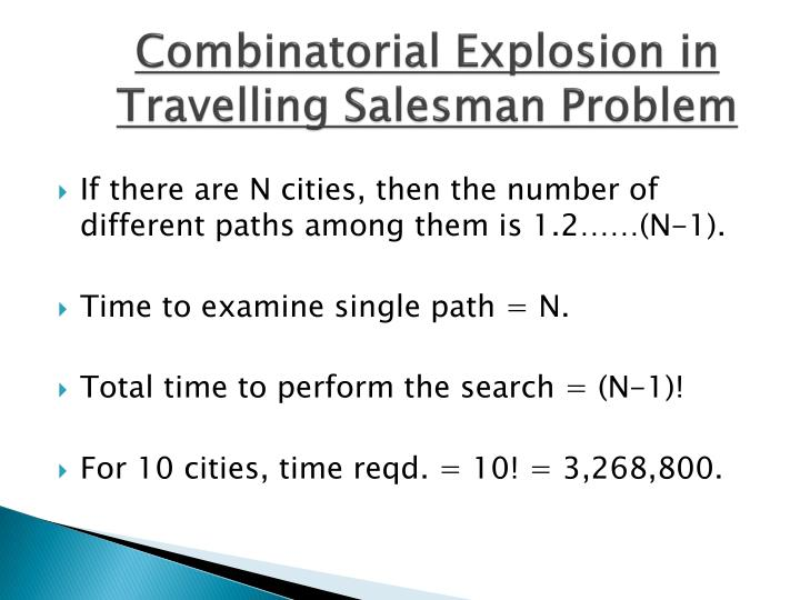 Combinatorial Explosion in Travelling Salesman Problem