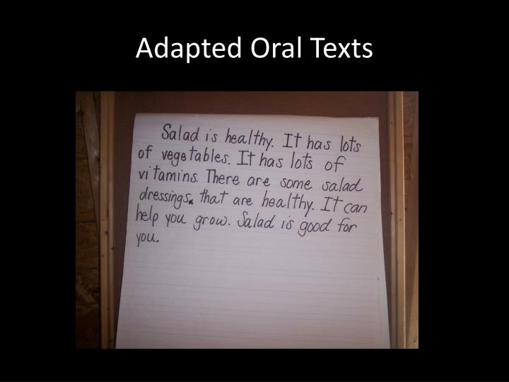 Adapted Oral Texts