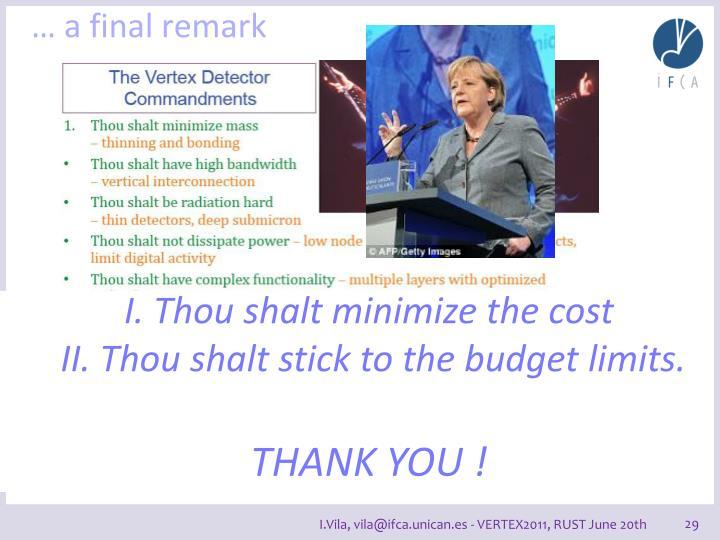 … a final remark