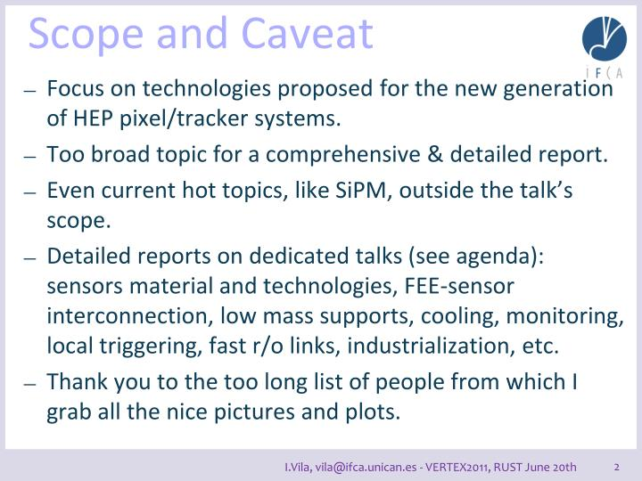 Scope and caveat