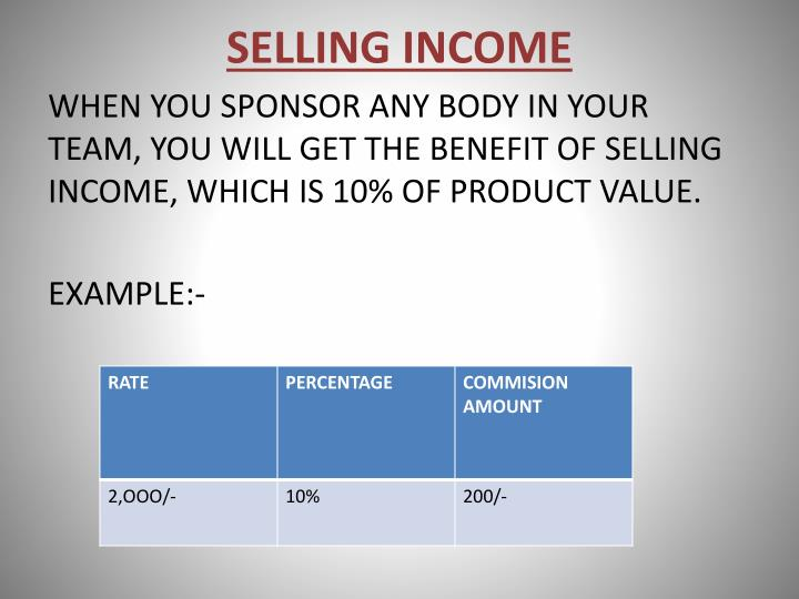 SELLING INCOME