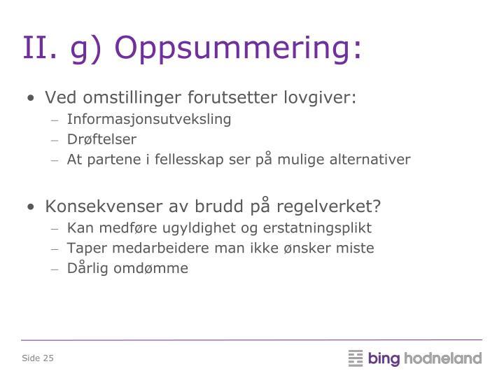 II. g) Oppsummering:
