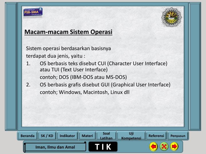 Macam-macam Sistem Operasi