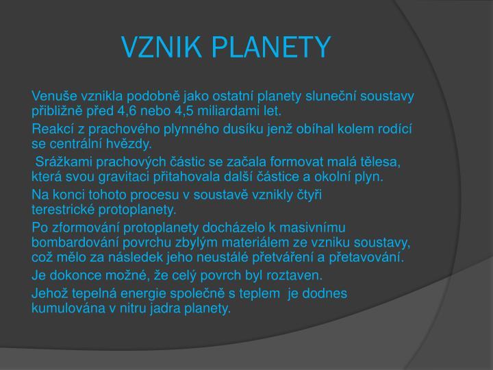 VZNIK PLANETY