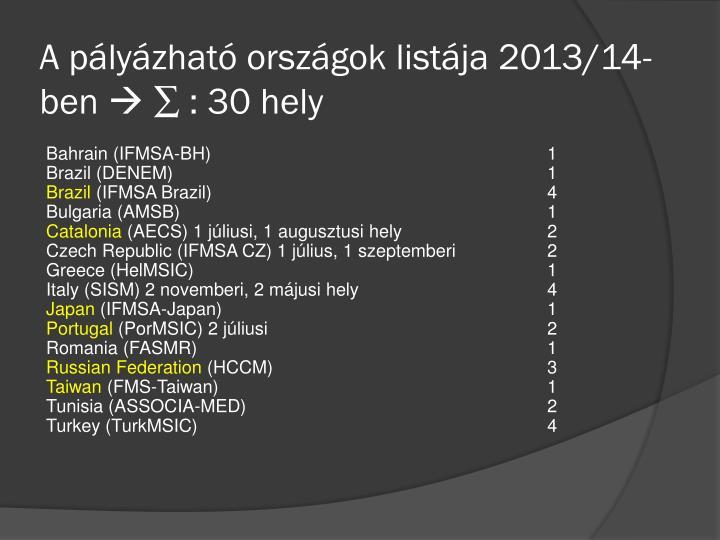 A pályázható országok listája 2013/14-ben