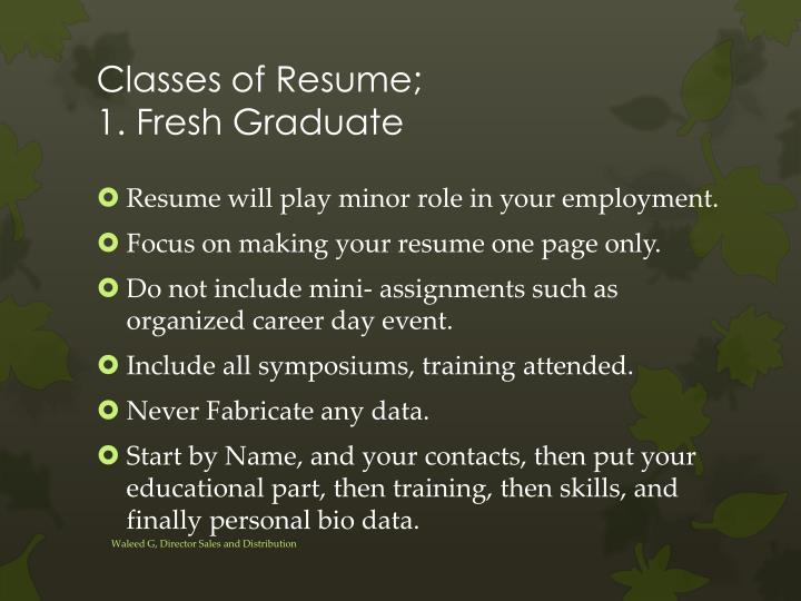 Classes of Resume;