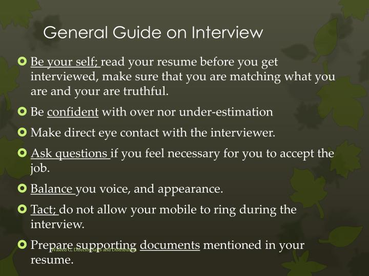 General Guide on Interview