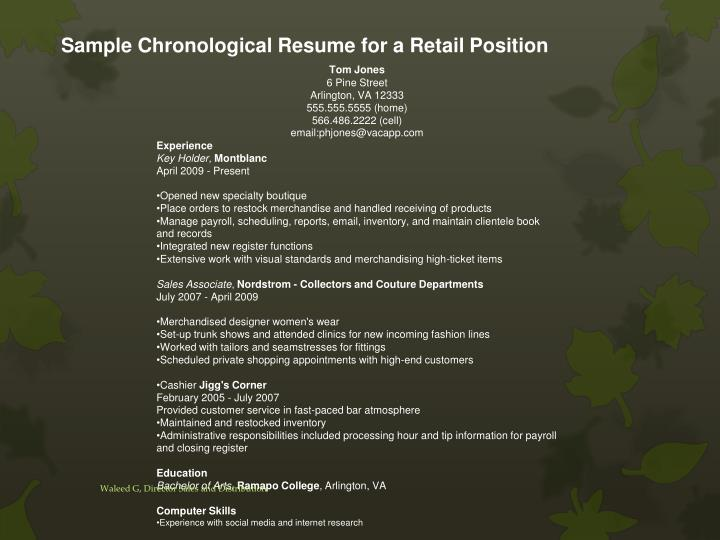 Sample Chronological Resume for a Retail Position