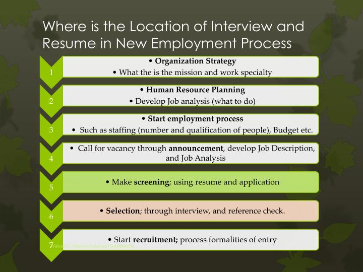Where is the Location of Interview and Resume in New Employment Process