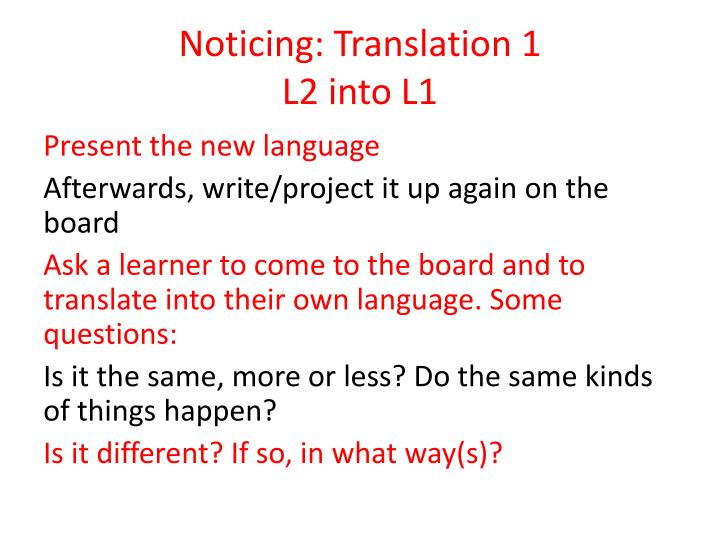 Noticing: Translation 1