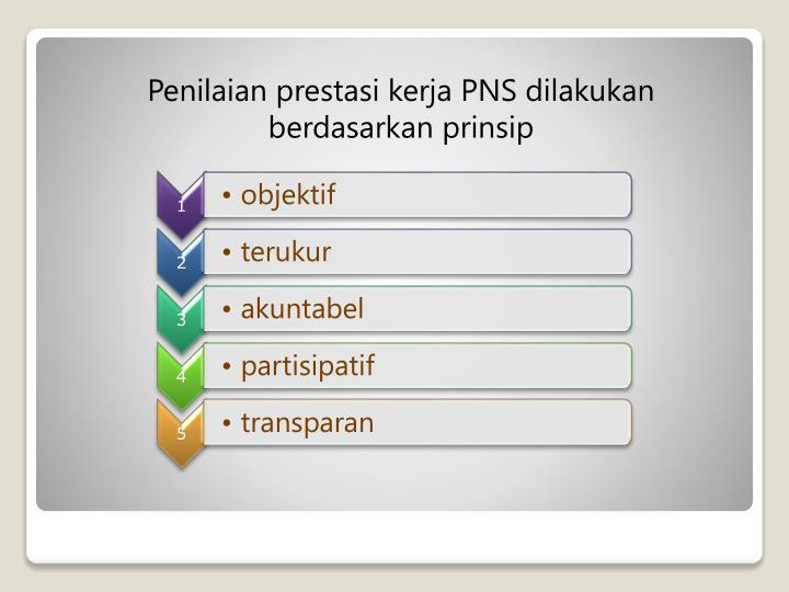 Penilaian prestasi kerja PNS dilakukan berdasarkan prinsip