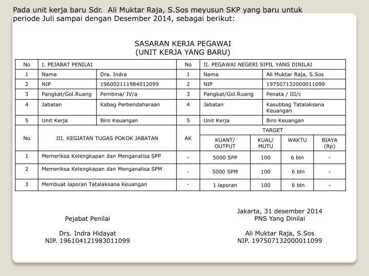 Pada unit kerja baru Sdr.  Ali Muktar Raja, S.Sos meyusun SKP yang baru untuk periode Juli sampai dengan Desember 2014, sebagai berikut: