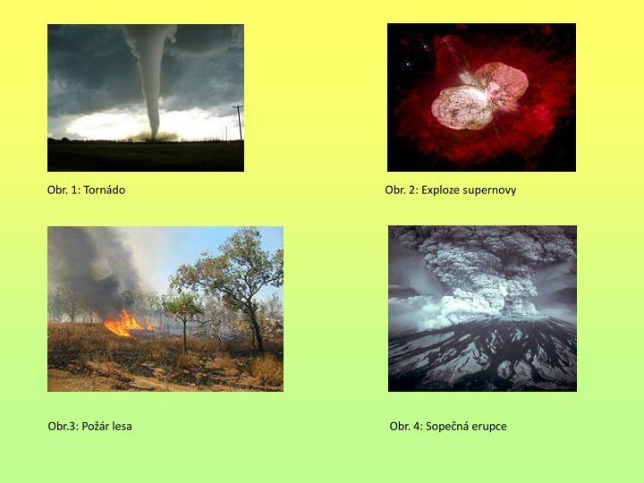 Obr. 1: Tornádo                                                                                             Obr. 2: Exploze supernovy