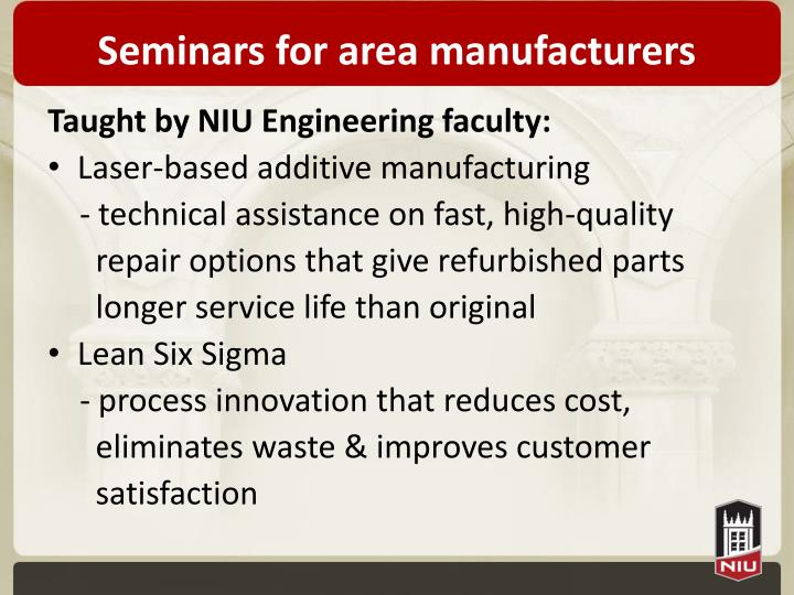 Seminars for area manufacturers
