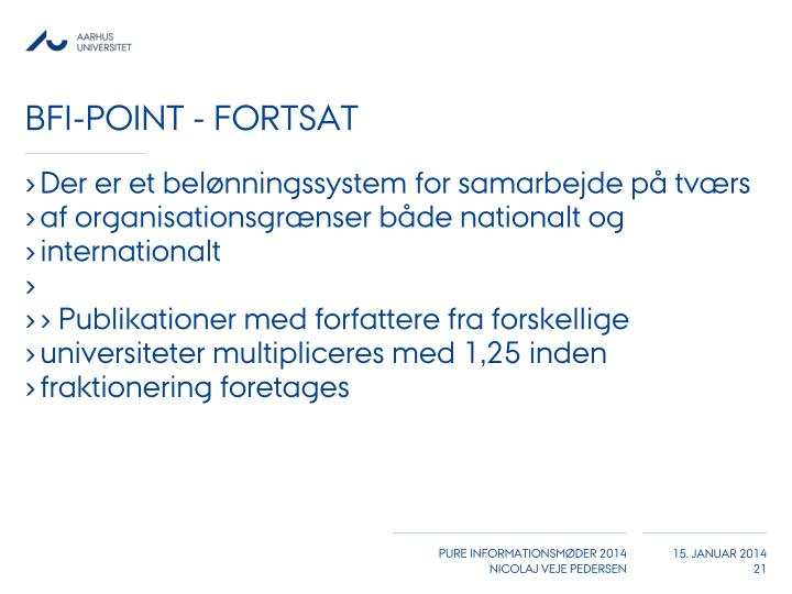 BFI-Point - fortsat