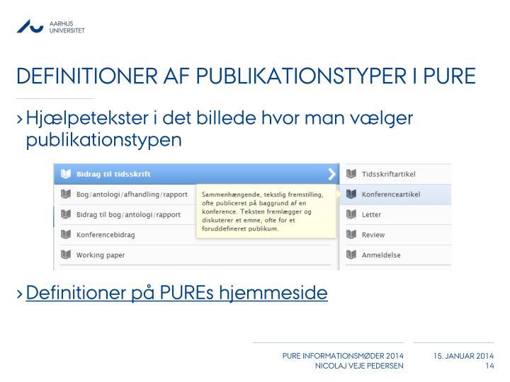 Definitioner af publikationstyper i PURE