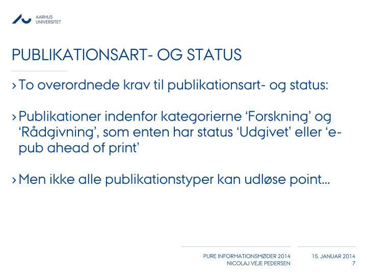 Publikationsart- og status