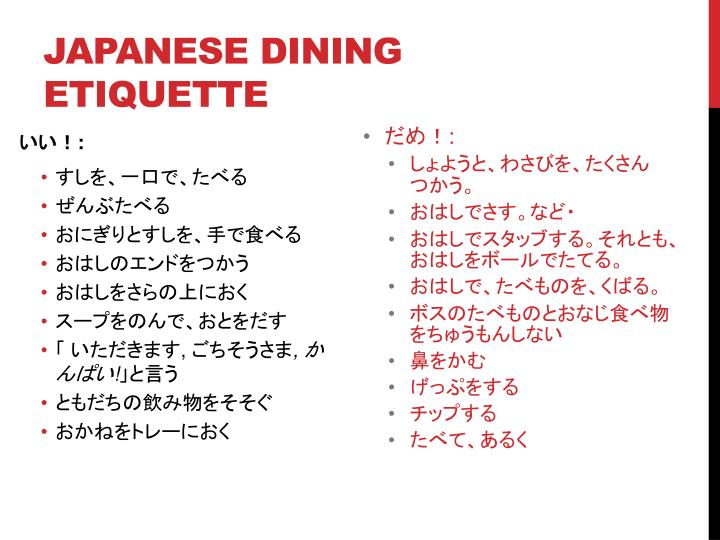 Japanese Dining Etiquette