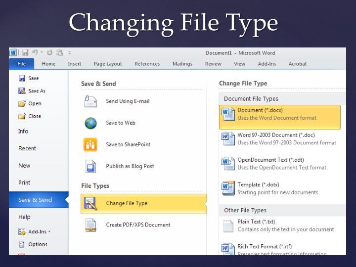 Changing File Type
