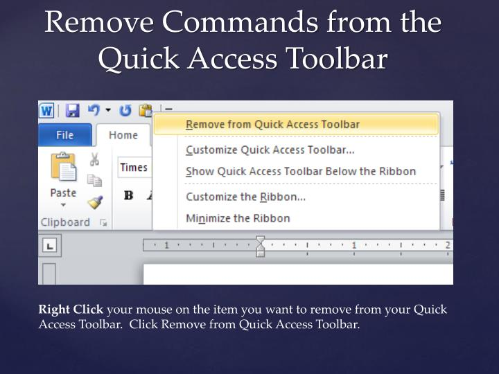 Remove Commands from the Quick Access Toolbar