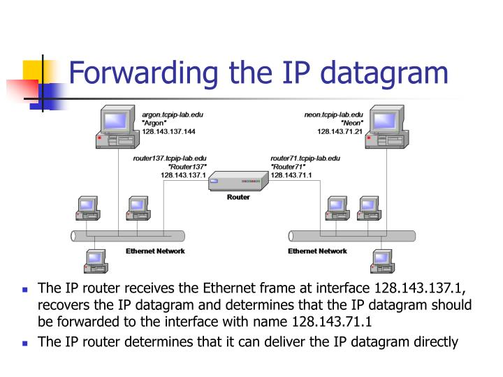 Forwarding the IP datagram