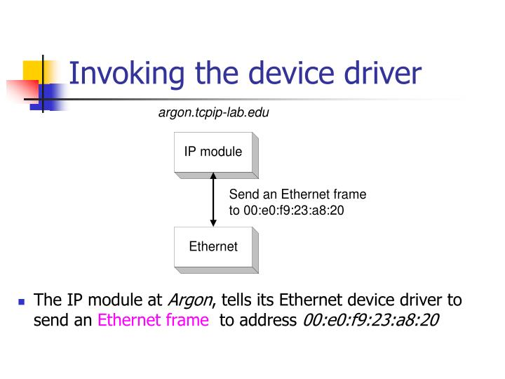 Invoking the device driver