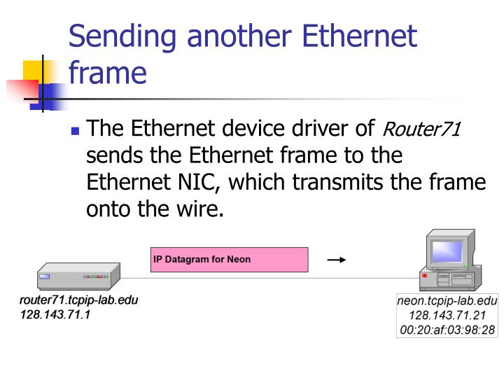 Sending another Ethernet frame