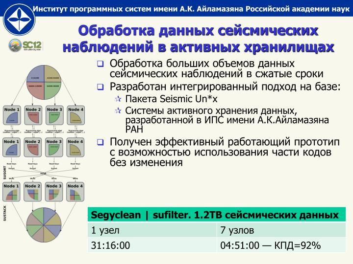 Обработка данных сейсмических наблюдений в активных хранилищах