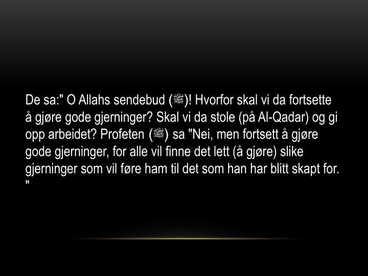 """De sa:"""" O Allahs sendebud"""