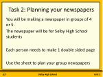 task 2 planning your newspapers