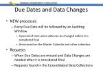 due dates and data changes