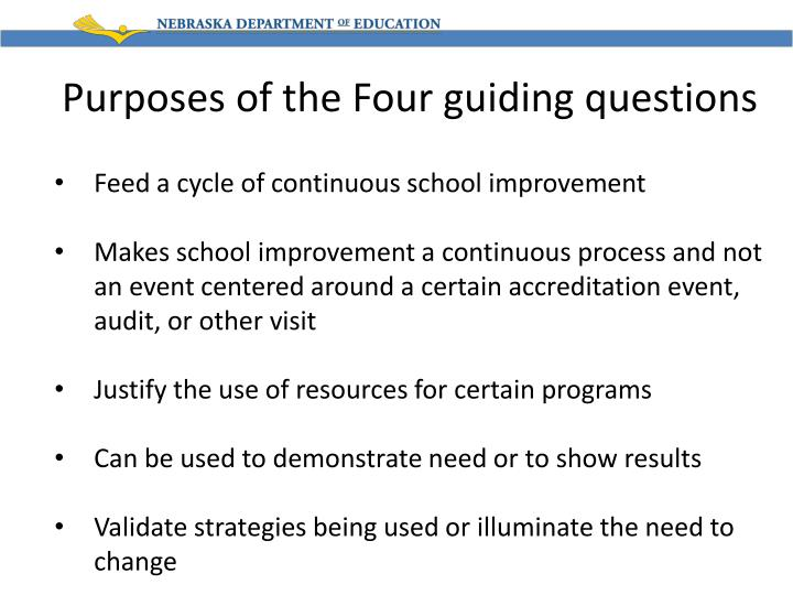 Purposes of the Four guiding questions