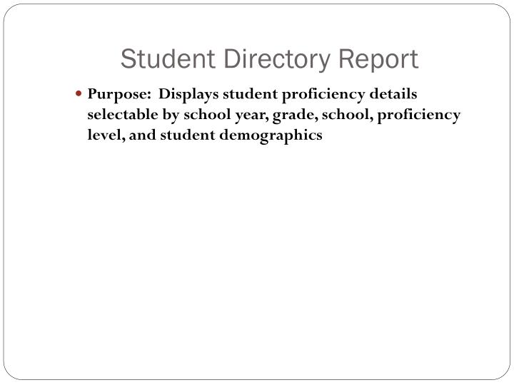 Student Directory Report