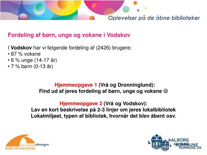 Fordeling af børn, unge og voksne i Vodskov