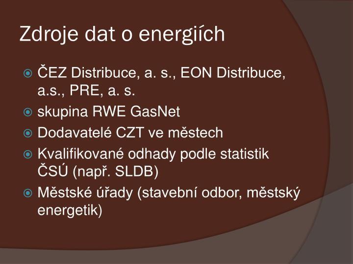 Zdroje dat o energiích