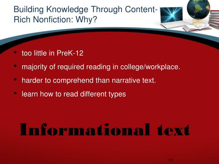 Building Knowledge Through Content-Rich Nonfiction: Why?