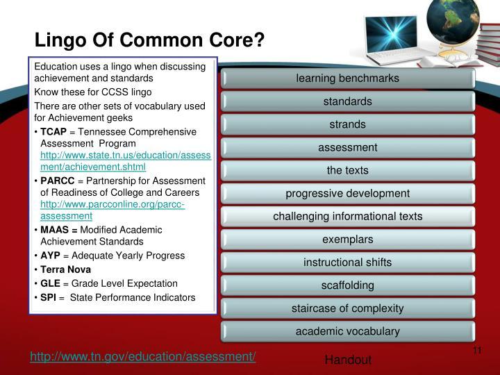 Lingo Of Common Core?