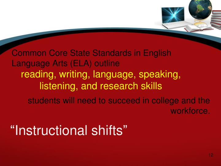 Common Core State Standards in English Language Arts (ELA) outline