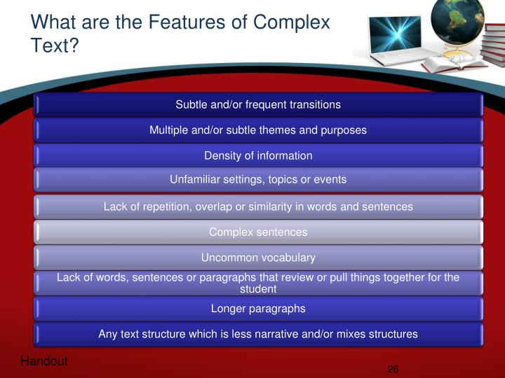 What are the Features of Complex Text?